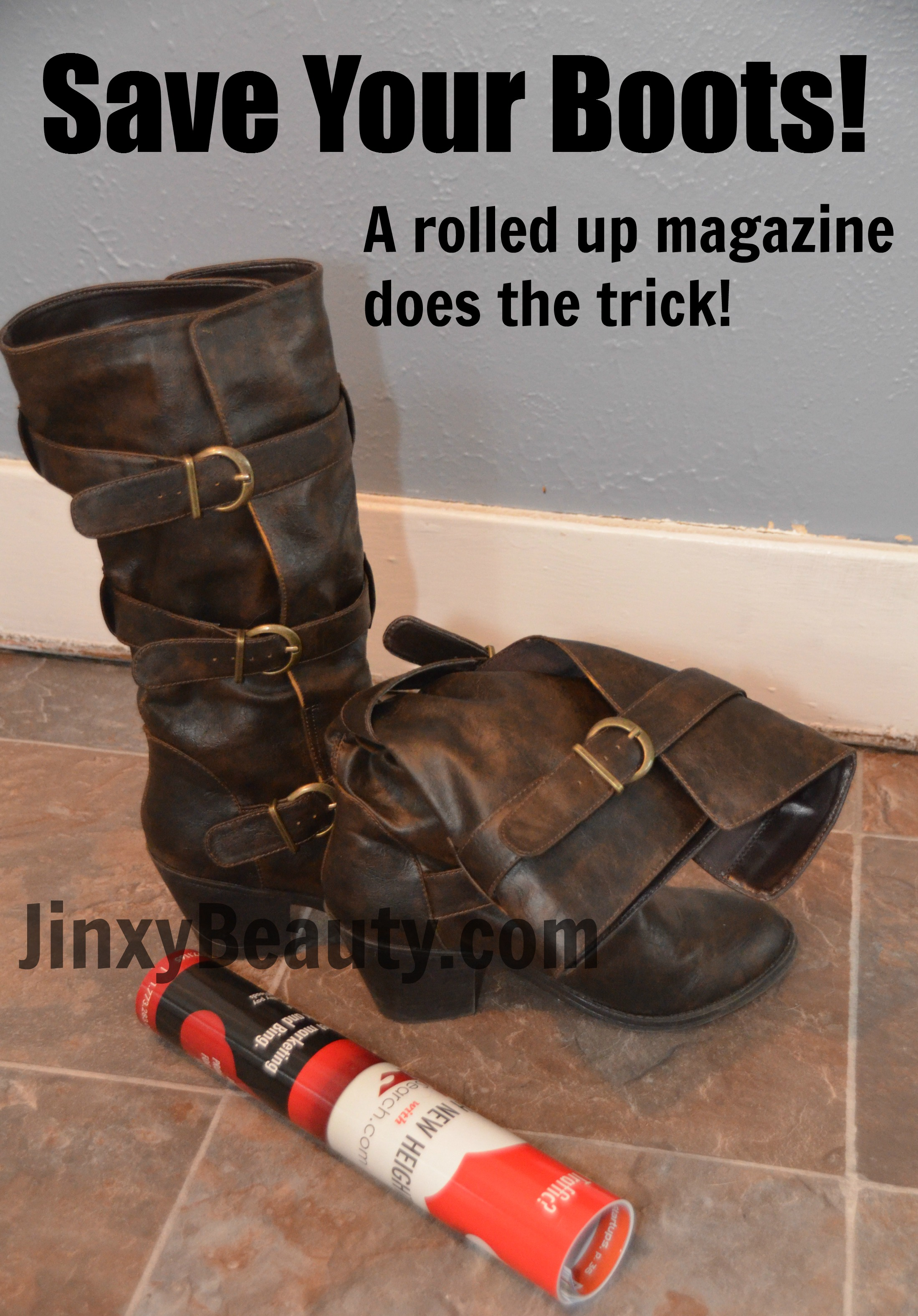 Save your boots with a rolled up magazine for storage.