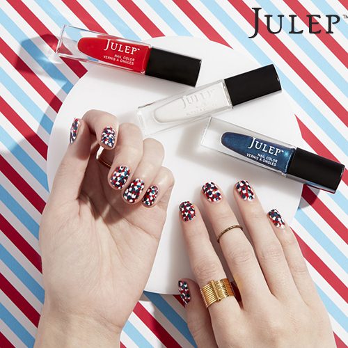 patriotic dots nails
