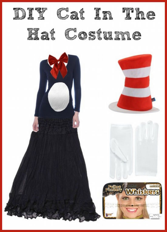 Make your own DIY Women's Cat in the Hat Costume using this short list of items you can find online. Your costume will fit perfectly and be SO unique!