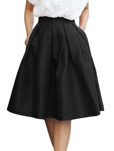 Allegra K Woman High Waist Floral Jacquard Pleated A Line Skirt