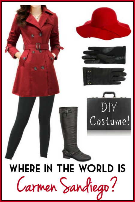 Make your own DIY Carmen Sandiego Costume using this short list of items you can find online. Your costume will fit perfectly and be SO unique!